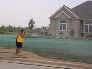 Rick Gorczyca, Hydroseeding lawn by his own